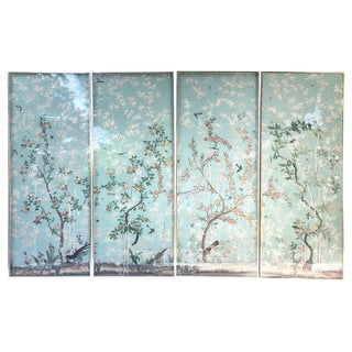 "Set of Four Framed ""Eastern Eden"" Iksel Wallpaper Panels"