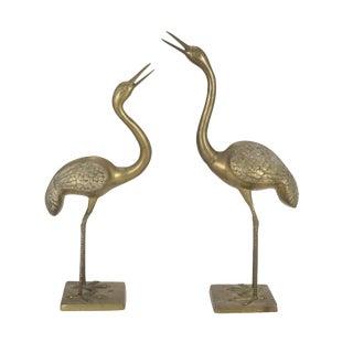 """3ft / 36"""" Brass Crane Bird Figurines - a Pair"""