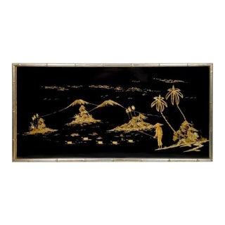 Chinoiserie Wood Chip Art on Velvet For Sale