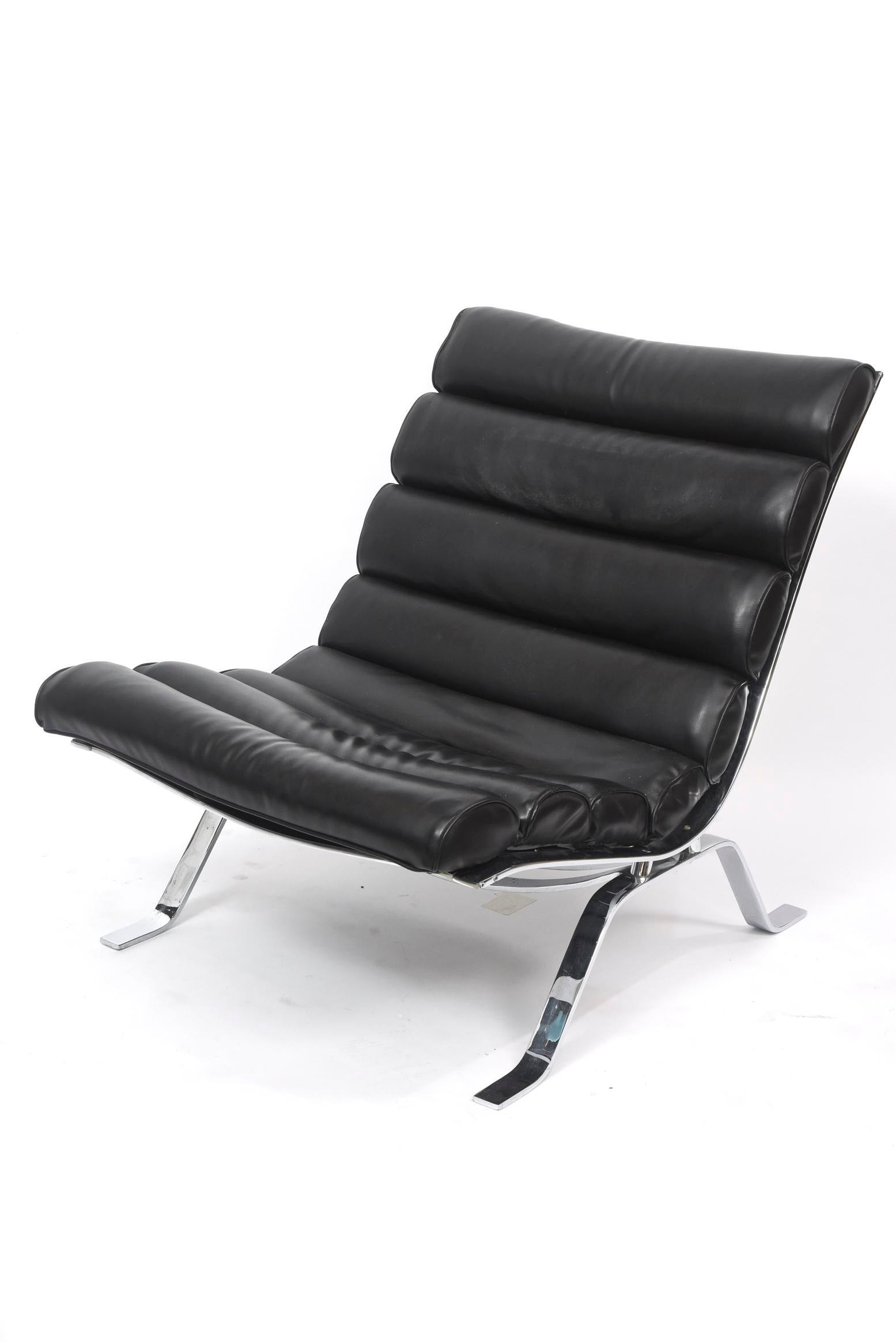 Silver Arne Norell Chrome And Leather Chair And Ottoman, Sweden For Sale    Image 8
