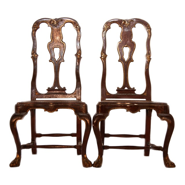 Painted Portuguese Baroque Side Chairs - a Pair For Sale