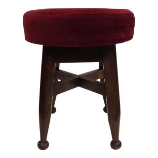 Four French Mid-Century Modern Neoclassical Hand-Carved Wood Stools, circa 1940