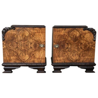 Pair of Art Deco Side Cabinets or Nightstands With Ebonized Base and Burl Walnut For Sale