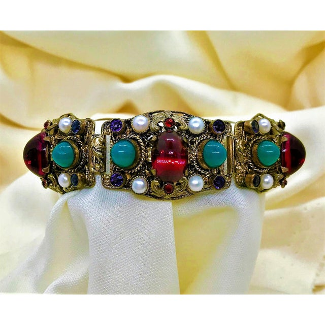 1940s Czech Austro-Hungarian Revival Jeweled Bracelet For Sale - Image 4 of 9
