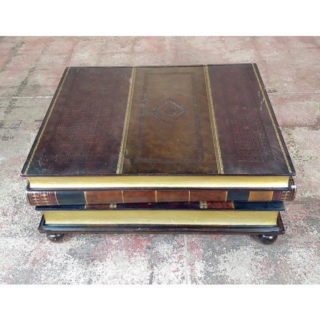 Maitland-Smith Stacked Leather Books Form Coffee Table For Sale - Image 4 of 11