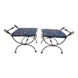 Italian Brass Swan Motif Stools - A Pair For Sale