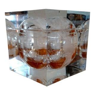 1970s Vintage Hollywood Regency Lucite Globe Ice Bucket For Sale