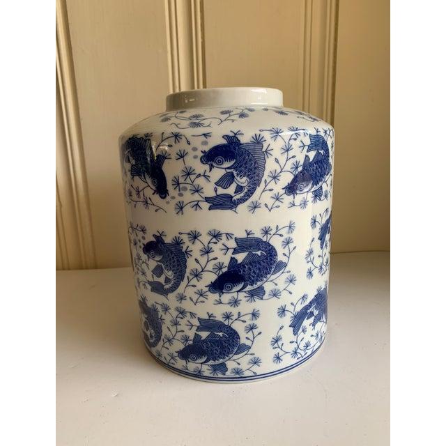 Blue & White Asian Koi Fish Ceramic Vase For Sale - Image 9 of 9