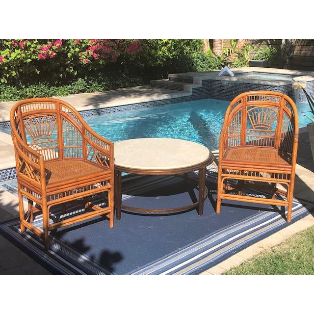1990s Vintage Bali Bamboo Chairs & Table- Set of 3 For Sale - Image 9 of 9