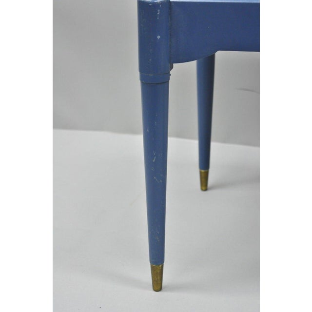 Blue Vintage Mid-Century Modern Danish Style Blue Painted Piano Bench With Sewing Storage For Sale - Image 8 of 11