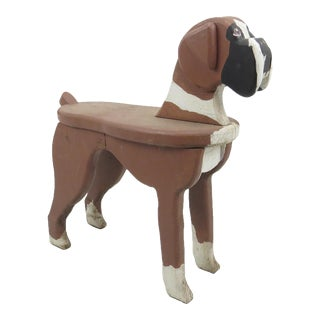 Vintage Folk Art Carved Wooden Dog Bench / Side Table For Sale