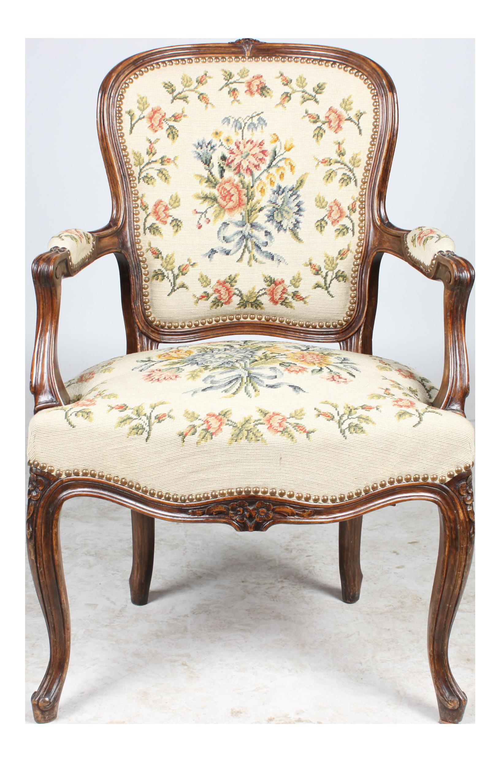 Needlepoint walnut fauteuil chair