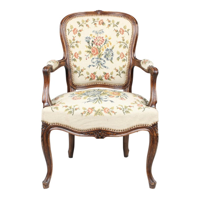 Needlepoint walnut fauteuil chair