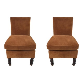 Currey & Co. Nubuck Burnt Orange Suade Overcourt Chairs Pair For Sale