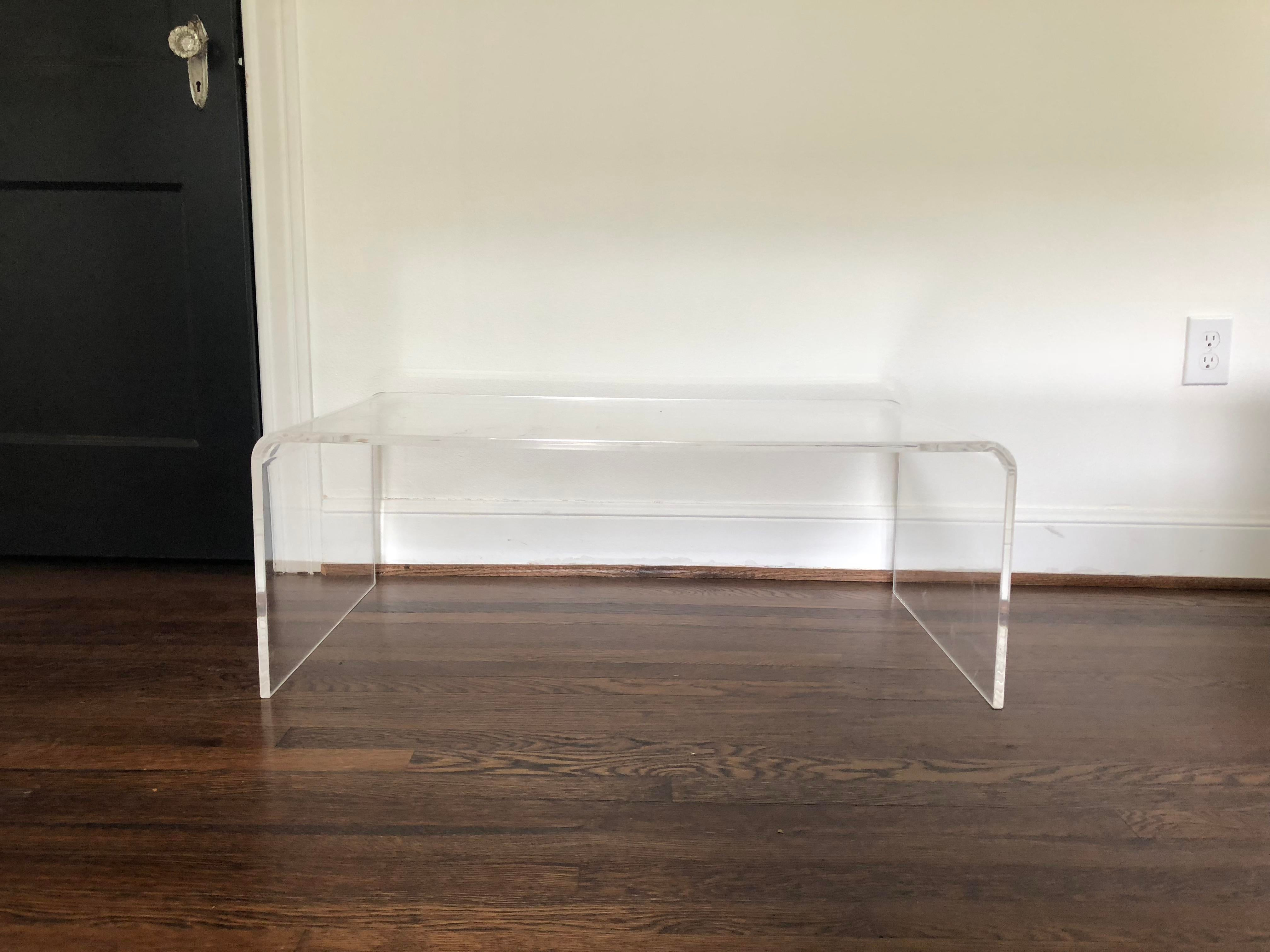 Merveilleux CB2 Lucite Waterfall Coffee Table For Sale In Houston   Image 6 Of 6