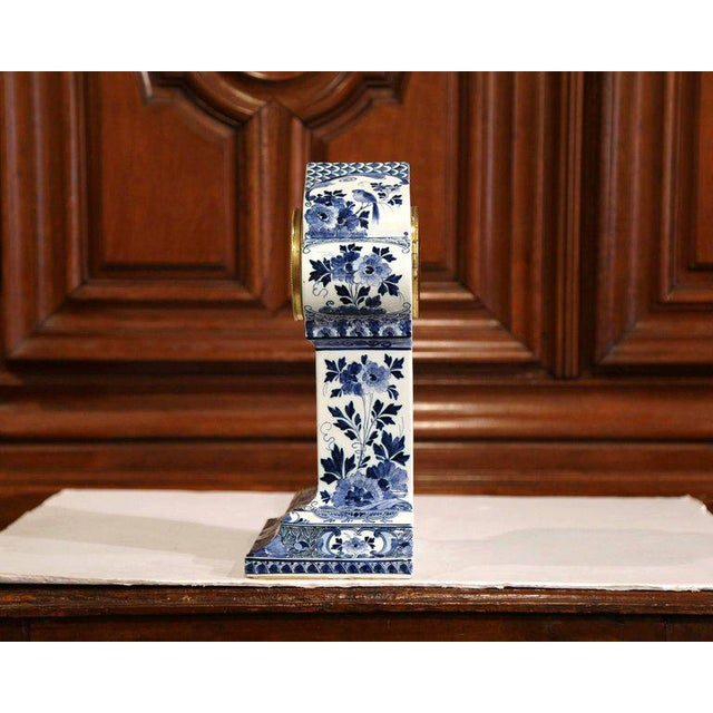 Early 20th Century Dutch Hand-Painted Blue and White Faience Delft Mantel Clock For Sale - Image 10 of 13