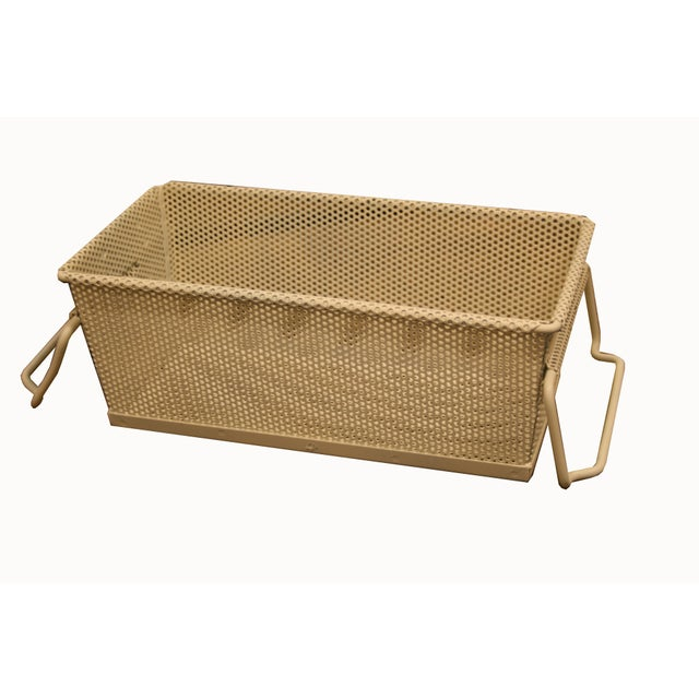 Vintage French Industrial Metal Basket With Handles For Sale - Image 11 of 11