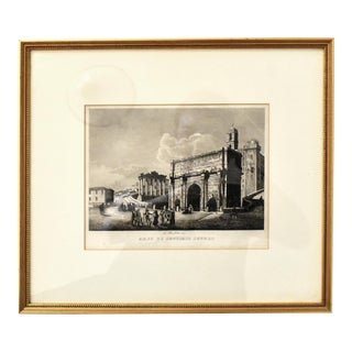 Antique 19th-Century Italian Engraving of the Arch of Septimus Severus For Sale