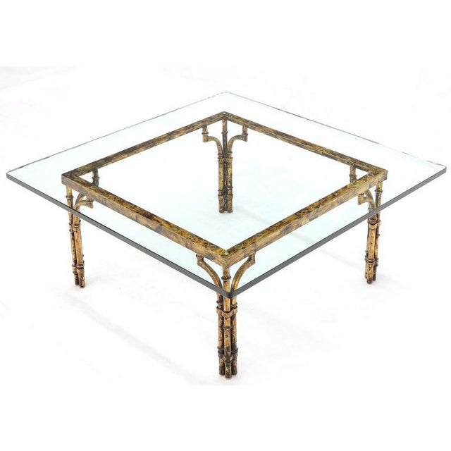 Hollywood Regency Faux Bamboo Gold Gilt Frame Square Glass Top Coffee Table For Sale - Image 3 of 12