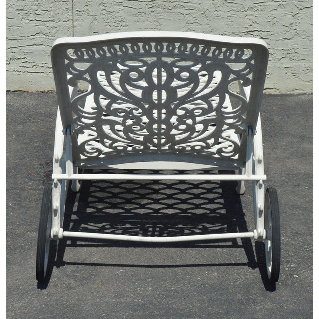 Quality Pair Cast Aluminum Patio Chaise Lounges For Sale In Philadelphia - Image 6 of 13