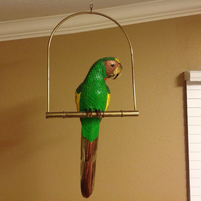 Parrot on Perch with Brass, Copper, & Leather. It's a unique decor accent for your home!
