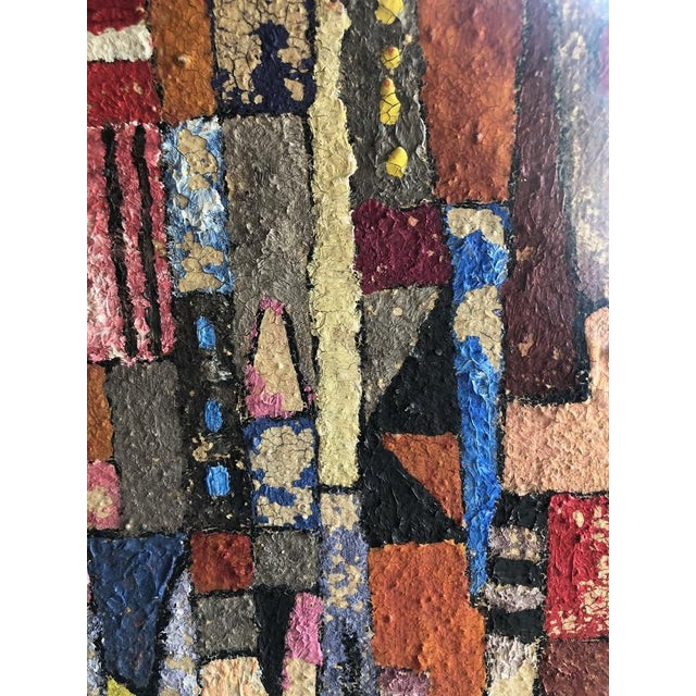 Canvas 1950s Vintage Modern Abstracted Cityscape Painting For Sale - Image 7 of 11