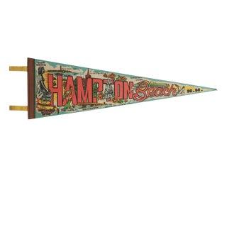 Vintage Hampton Beach n.h. Felt Flag Pennant For Sale