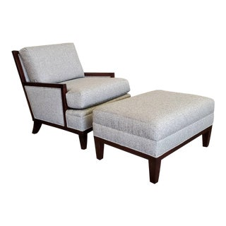 Henredon Furniture Barbara Barry Mendicino Upholstered Lounge Chair and Ottoman For Sale