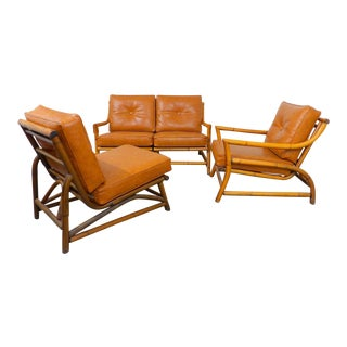 Vintage Naugahyde Mid-Century Modern Bamboo & Brown Vinyl Sofa Set - 3 Pcs.