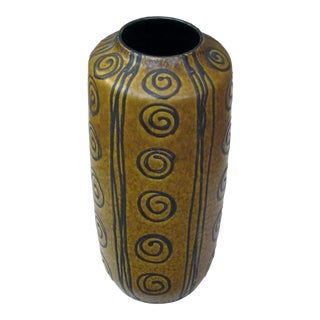 A Tall and Striking West German 1960's Ochre Glazed Vase With Dark Brown Drip-Glaze Decoration For Sale