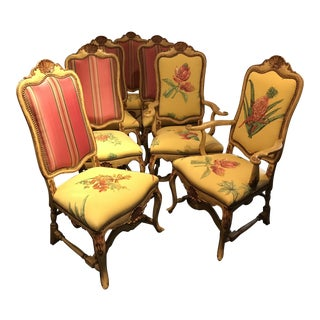 Vintage Yellow Upholstered Italian Dining Chairs - Set of 10 For Sale