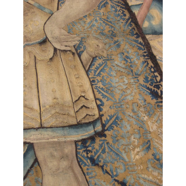 Antique Flemish Tapestry of Soldier Back From a Battle For Sale - Image 12 of 12