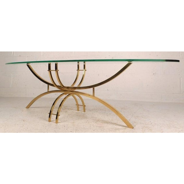 Contemporary Modern Glass and Brass Surfboard Coffee Table For Sale - Image 4 of 8
