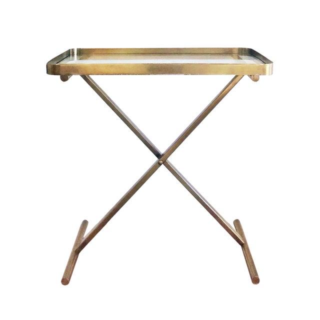 Ralph Lauren Home One Fifth Cross Brass Tray Table Bar Cart For Sale