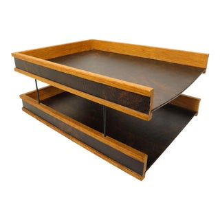 Mid Century Modernist Wood & Leather 2-Tiered Letter Holder Desk Paper Tray For Sale