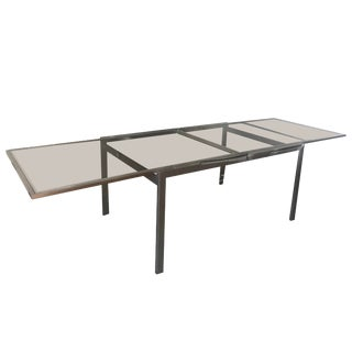 Mid-Century Modern Milo Baughman Chrome & Glass Expandable Dining Table For Sale