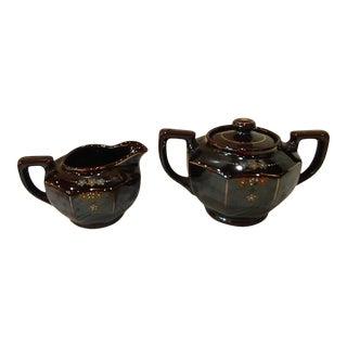 Vintage 1940's Redware Pottery Sugar & Creamer Set, Japan - Set of 2 For Sale