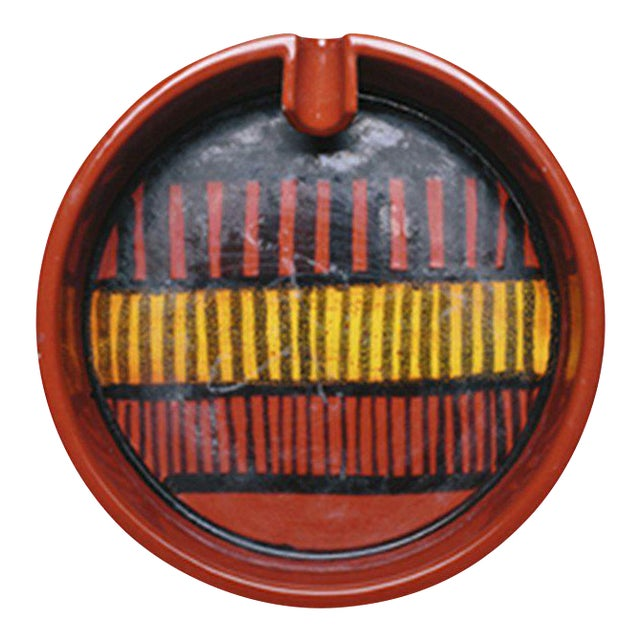 Mid-Century Red & Black Ashtray For Sale