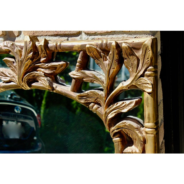 Mid 20th Century Vintage Serge Roche Style Hollywood Regency Gold Bamboo Palm Frond Leaves Mirror For Sale - Image 5 of 7