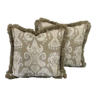 """Kravet Ikat Fringe Pillow 21"""" by 21"""" For Sale"""