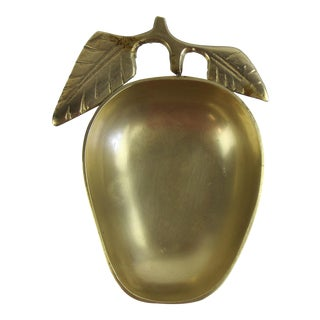 1960's Brass Apple Catchall Bowl Jewelry Dish For Sale