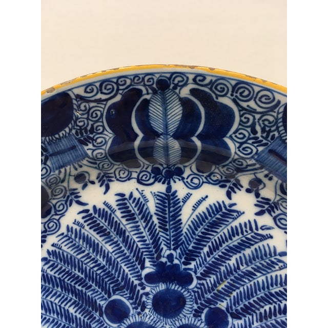 Antique Delft Peacock Plate Circa 1750 Blue & White For Sale - Image 4 of 6
