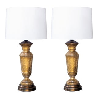A stylish pair of American 1960's baluster-form gold crackle-glass lamps; signed Paul Hanson