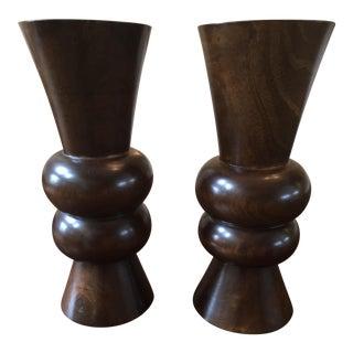 Thai Hand Carved Dark Wood Sculpture Vases - a Pair