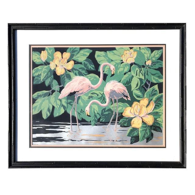 1940s Old Florida Flamingo Print by Hemia Calpini For Sale