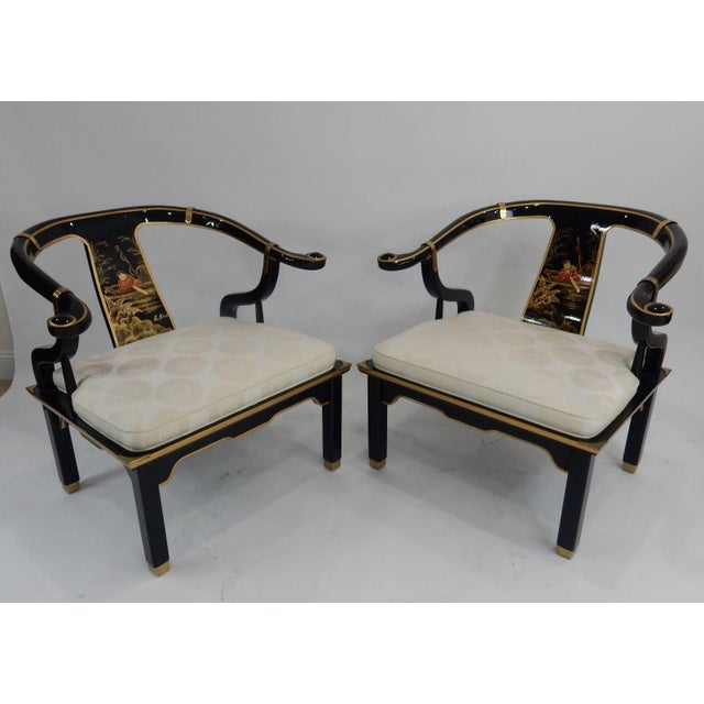 Century Black & Gold Chinoiserie Horseshoe Back Chairs - A Pair - Image 7 of 11