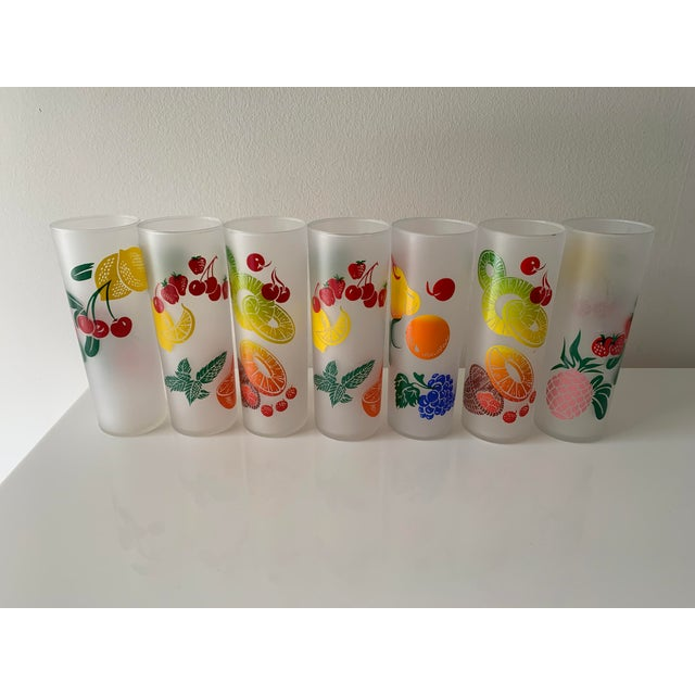 Federal Glass Vintage Mid Century Federal Glass Colorful Fruit Tumblers - Set of 7 For Sale - Image 4 of 5