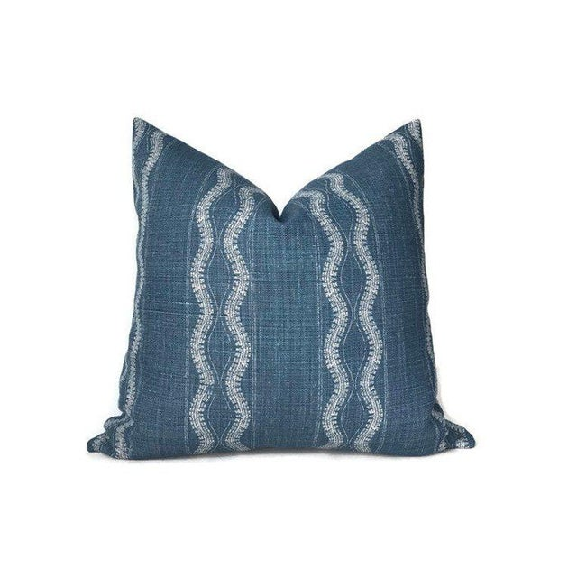 Not Yet Made - Made To Order Zanzibar Indigo Blue Linen Pillow Cover For Sale - Image 5 of 5