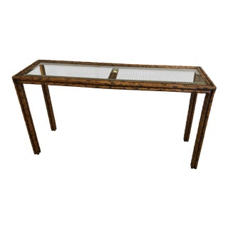 1970s Mid-Century Modern Faux Bois and Caned Console Table For Sale