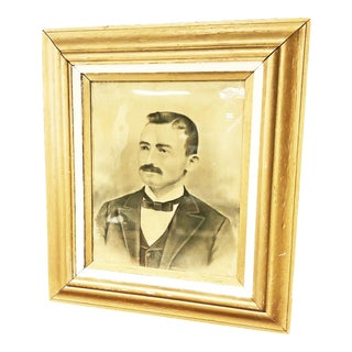 Vintage Victorian Black & White Portrait With Gold Gesso Picture Frame For Sale
